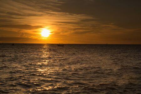 hues: sunset at sea. variety of colors and hues of the rising sun