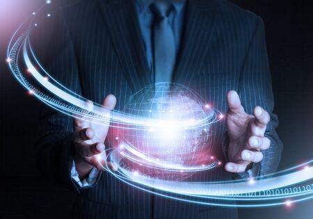 hand holding world: Smart Hand holding world futuristic connection technology Stock Photo