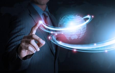 futuristic: Smart hand push futuristic connection technology Stock Photo