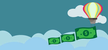 Financial Freedom and Financial Planning Concept.Colorful Hot Air Balloons and dollars Banknote Is floating in the Sky with Cloud.Copy Space for Design