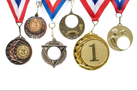 Sports medals for the first and third places Stock Photo