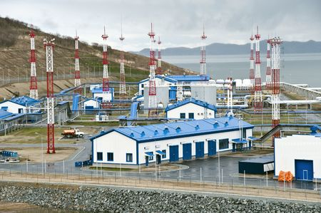 swapping: Pump station for oil swapping on a vessel near to a city the Nakhodka
