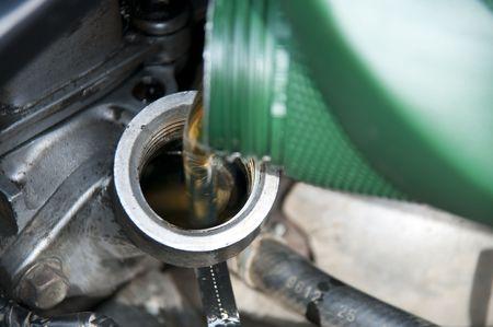 Service change of oil in car-care centre Stock Photo