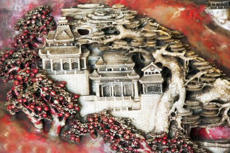 kerf: Ancient castle cut out from a nephrite   Stock Photo