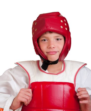 yielded: The smiling boy in sports одеже for employment taekwondo