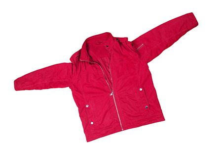 Red jacket on the lock on a white background  Stock Photo