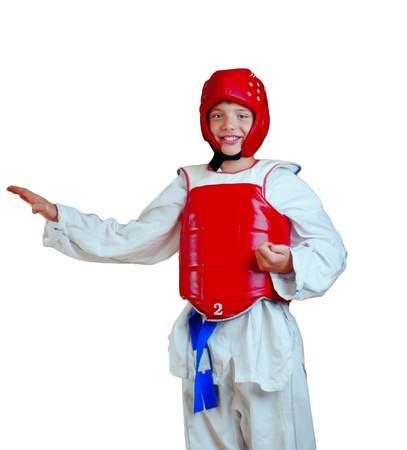 sports form: The boy in the sports form for employment by oriental combat sports