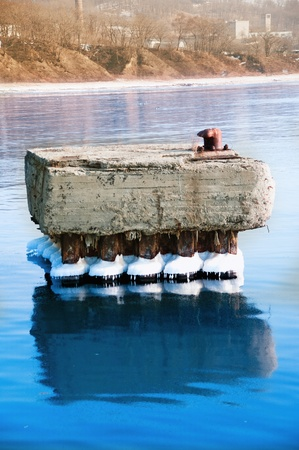 boat mooring  in the winter at calm Stock Photo - 8627926