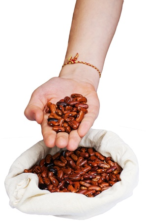 isoleted: A  rad  beans in a  hands isoleted
