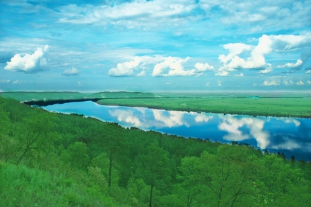 oxbow: The river zee in russia against wood