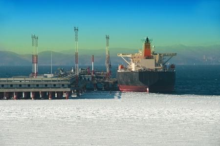 oil tanker. loading cargo