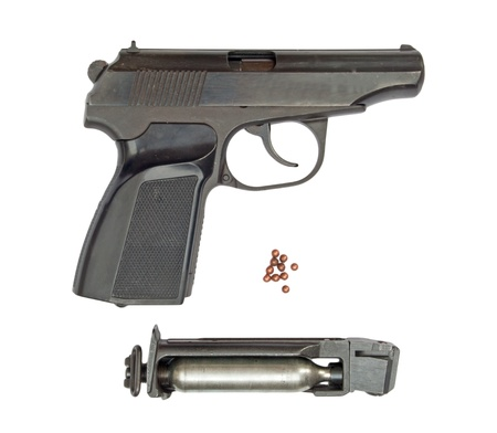 bb gun: Black steel air pistol isolated on white with clipping path