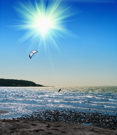 kite boarder  on  the Ionian island of Lefkas in Greece photo