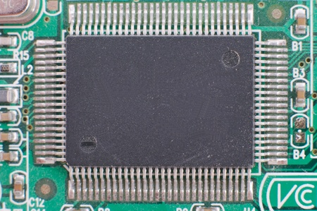 Close-up of computer chip with rear view. photo