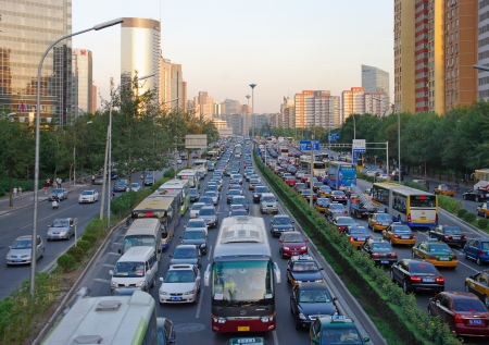 the traffic queue at downtown of Beijing,China .