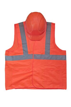 yellow high visibility vest and protective helmet on white background Stock Photo - 11298966