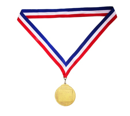 gold medal: Blank gold medal with tricolor ribbon isolated on white background