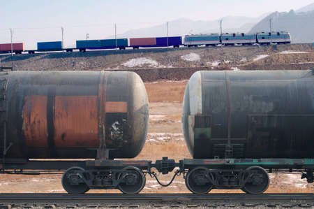 flatcar: Freight train with cargo containers  and tanks
