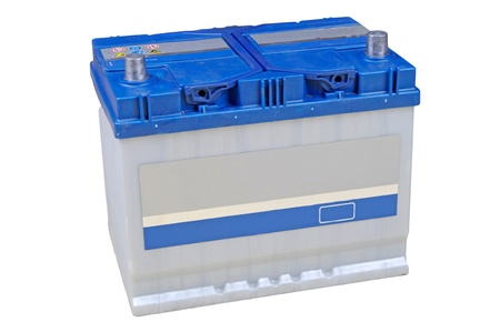 12v: Bater�a del coche azul sobre fondo blanco Foto de archivo
