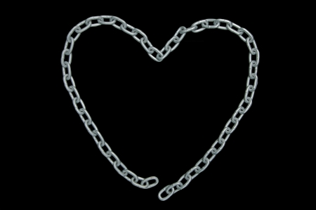 unrequited love:  heart shaped chain with disconnected links (unrequited love), isolated on black