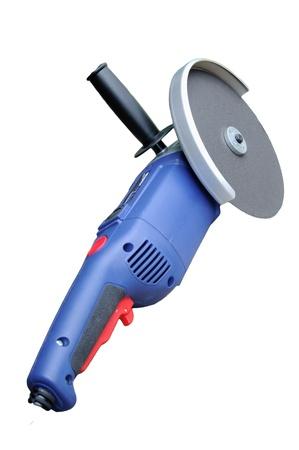 afilador: Sierra el�ctrica, amoladora para el trabajo del metal en el fondo blanco