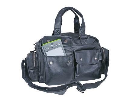 saddlebag:  black  leather Shoulder bag with e book sticking out of his pocket on white background