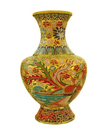 chinese vase on the plain back ground