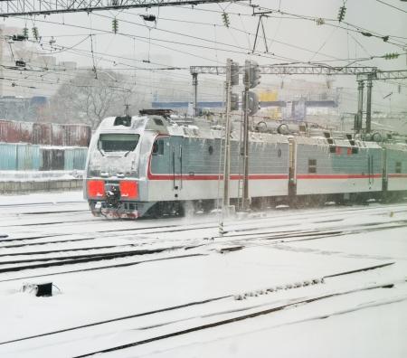 proceeds: Las ganancias estaci�n locomotora el�ctrica en tiempo de nieve