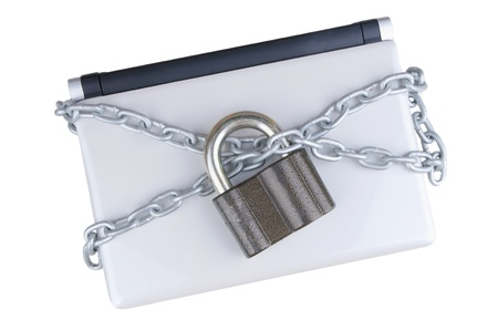 locked laptop with chains , meaning safety and security n data protection Stock Photo - 16932072