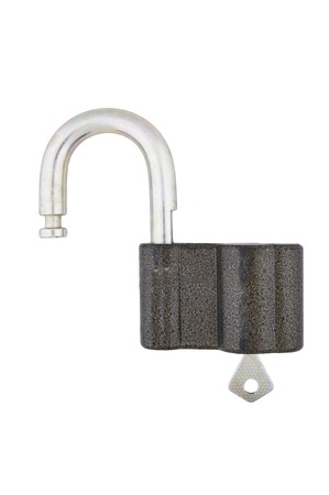Open padlock with key, white background, clipping path. Stock Photo - 16989099