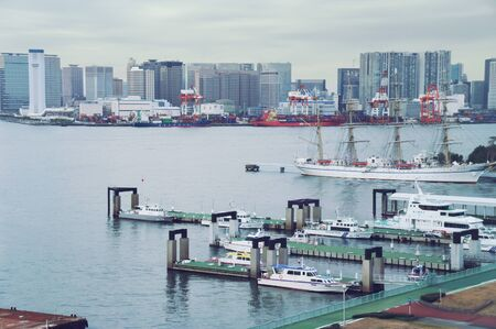 coast guard: TOKYO view of the harbor, container terminal and parking coast guard boats Editorial