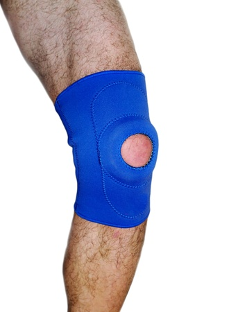 carpol: Trauma of knee in brace. Isolated on white. Stock Photo