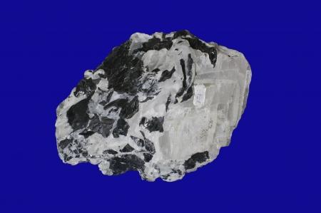 sphalerite, calcite on blue Stock Photo - 18029192