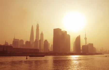 china SHANGHAI - nov 15 2013  Big city in the fog, shanghai