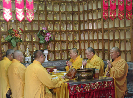 jade buddha temple: SHANGHAI CHINA - NOV  15 2013  Buddhist monks gather for mourning mass at Jade Buddha Temple Editorial