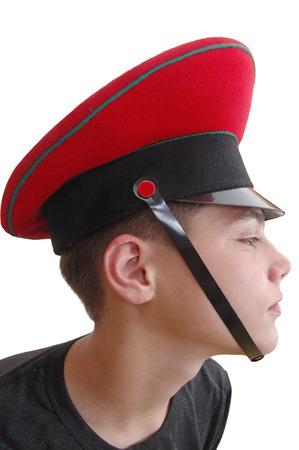 cute  boy in the  red military cap photo