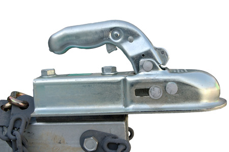 Close-up of a boat trailer hitch Isolated on white background Stock Photo