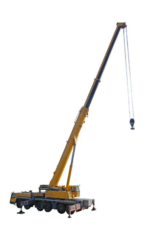 isolated on yellow: crane truck with hook isolated on white background