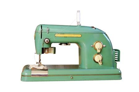 maquinas de coser: M�quina de coser vieja aislada en el tel�fono blanco