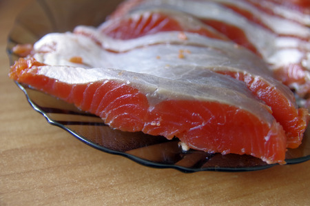 salted: salted trout on dishpieces of salted trout lying on a platter Stock Photo