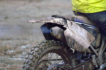 muffler: working muffler of a  dirt motocross motorcycle Stock Photo