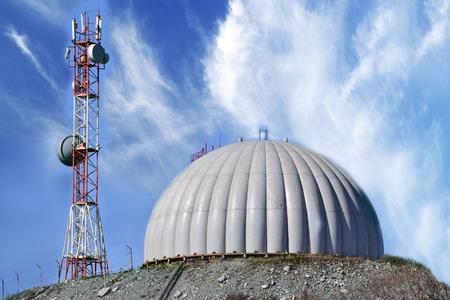 faa: radar dome technology on the background of blue clouds