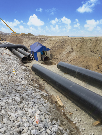Works on the dug out oil pipeline. Construction of the oil pipeline.