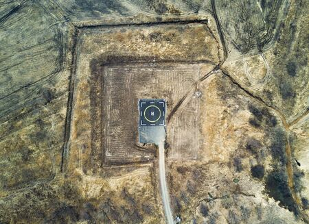 Helipad for helicopter landing within greenery setting view from above Banco de Imagens