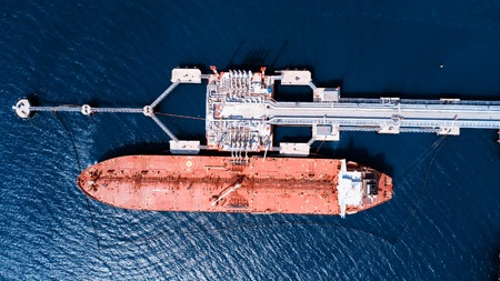 Oil tanker Loading in port view from above