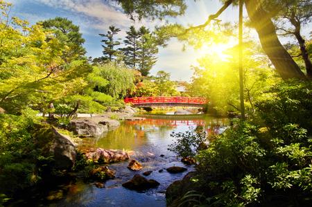 bridge in a Japanese garden during summer season