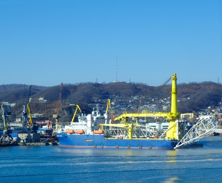 ship pipelayer academik cherskiy owned by Gazprom for repairs in port Nakhodka Russia 23.11.2017