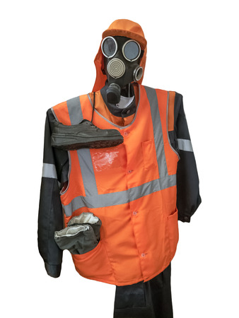 Protective suite with mask isolated. Clipping path and buut included. Banco de Imagens