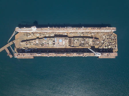 dismantling of a ship in a dock, top view Banco de Imagens