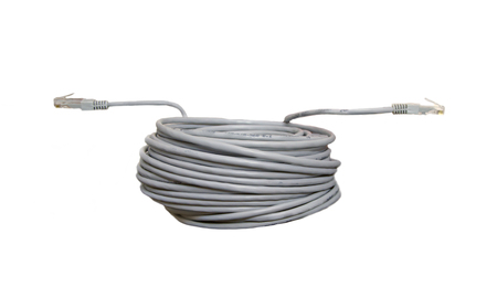 Twisted pair patch cord network Internet cable with shadow isolated over white background. Top view. Banco de Imagens